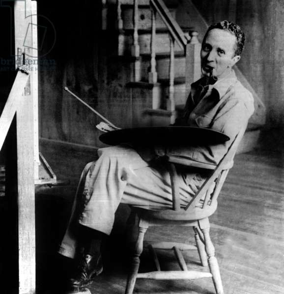 American Illustrator Norman Rockwell (1894-1978) in his workshop on West Arlington, Vermont c. 1950