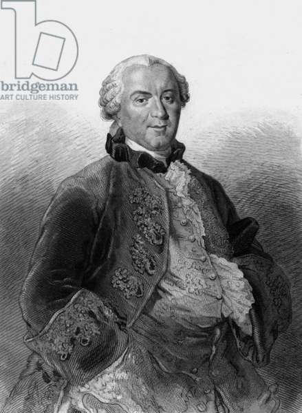Georges Louis Leclerc, Comte of Buffon (1707 - 1788), French naturalist, mathematician, cosmologist, and writer. Engraving by Desjardins, drawing L Massard