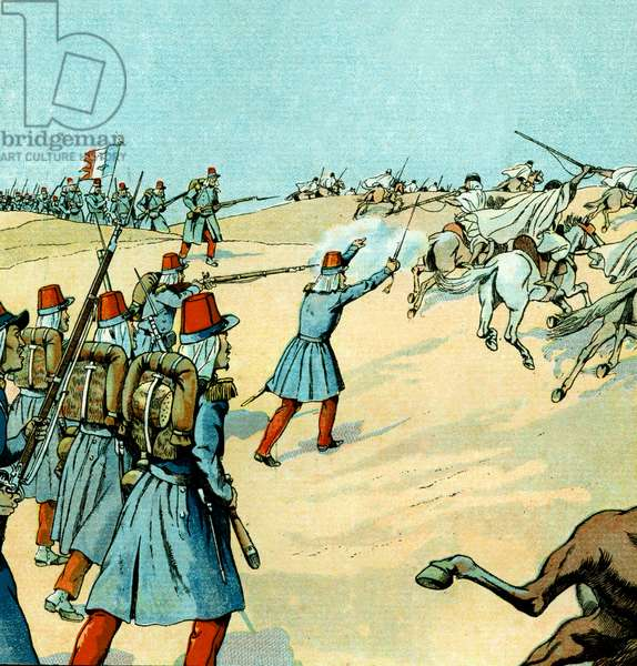 Conquest of Algeria by french army in 1830, illustration by Job, 1930
