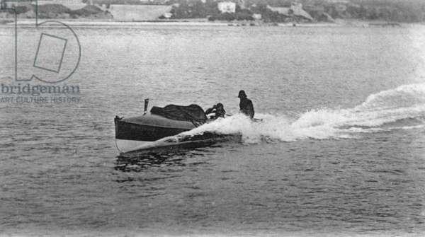 Race of motorboats in Monaco, Postcard, c. 1925