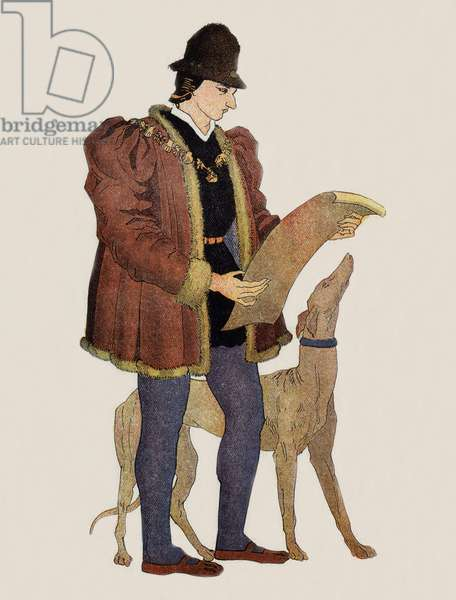 """Louis XI (1423-1483) french king in 1461-1483, illustration from """"A Short History of France"""", undergraduate courses 1st and 2nd elementary years, by Jean Brunhes Delamarre and Pierre Raymond Fontaines, 1943 (colour litho)"""