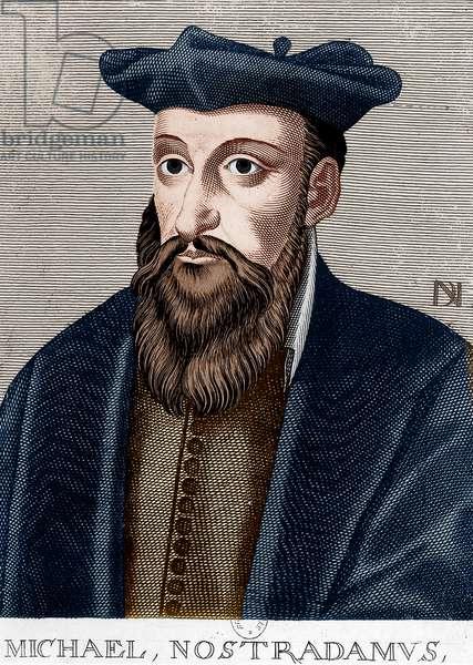 Michel de Nostredame, aka Nostradamus (1503-1566) french astrologer and doctor, engraving, colourized document