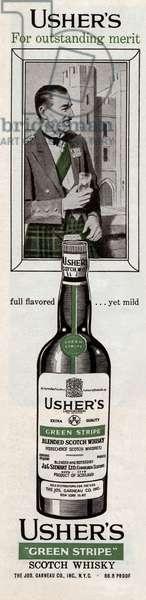 Publicite americaine pour le Scotch Whisky Usher's 1958 --- American advertisement for Scotch Whisky Usher's 1958