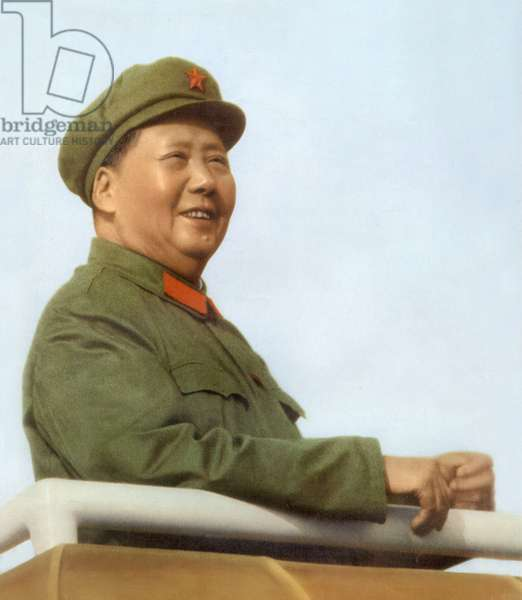 Mao Tse Toung (1893-1976) chinese president here during review of army of The Great Proletarian Cultural Revolution in Pekin, november 3, 1967