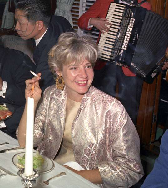 Mary Pinchot Meyer at birthday of JFK on yacht Sequoia on may 29, 1963, photo by Robert Knudsen. She was an american socialite, former wife of Cord Meyer (CIA official) and mistress of JFK from 1961