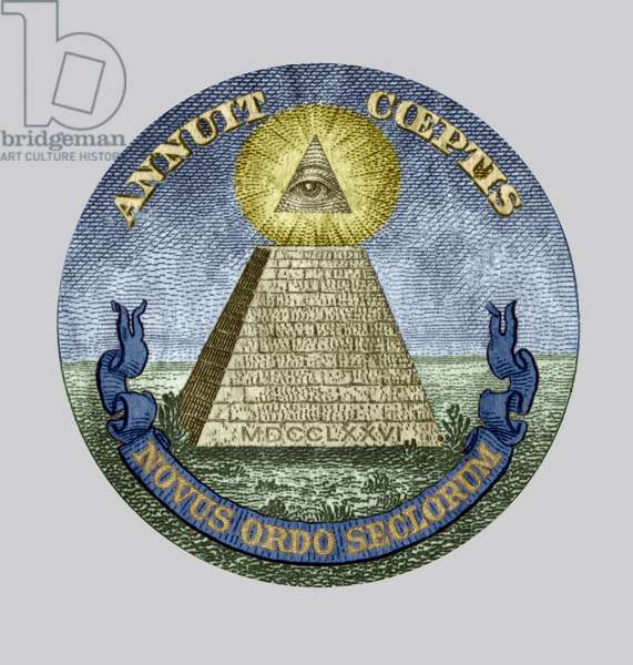 Symbol of the The Bavarian Illuminati secret society (1776-1785) members were from Freemasonry, accused of conspiracy, detail of a one dollar bill colourized document