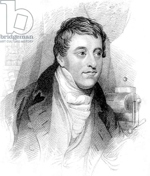 Sir Humphry Davy (1778-1829) english physicist and chemist who discovered laughing gas, engraving
