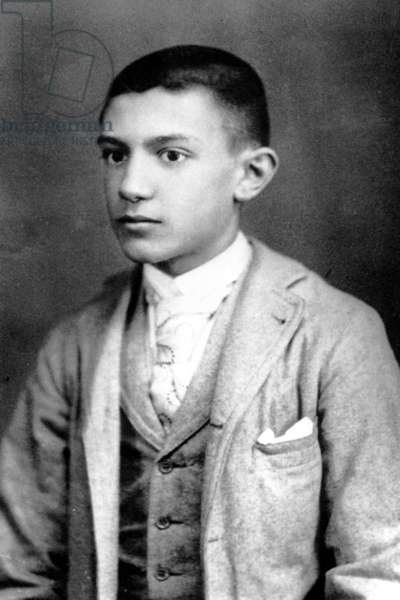Pablo Picasso aged 14, Barcelona, 1895 (b/w photo)
