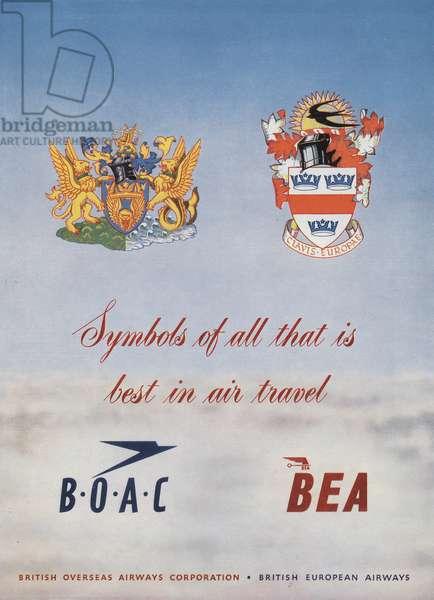 Advertisement for airlines BOAC (British overseas airways corporation) and BEA (British European Airways), june 1953 (coronation of queenElizabethII of England)