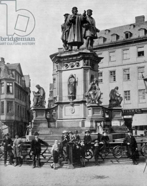 Monument in memory of Gutenberg (v.1397-1468) german inventor of the printing press, Francfort (b/w photo)