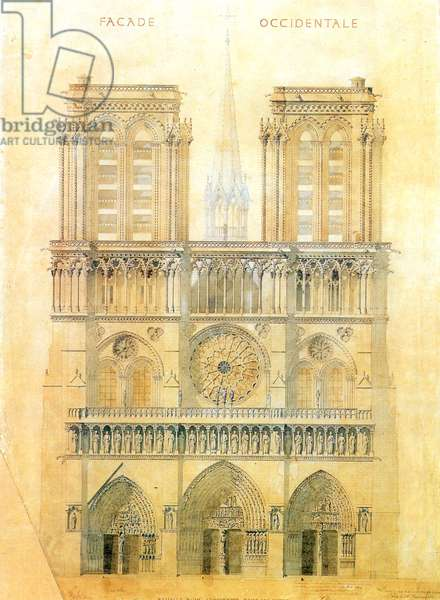 Project of for restoration of west facade of Notre Dame cathedral in Paris with reconstruction of the spire at the crossing, 1843 (pencil & w/c on paper)