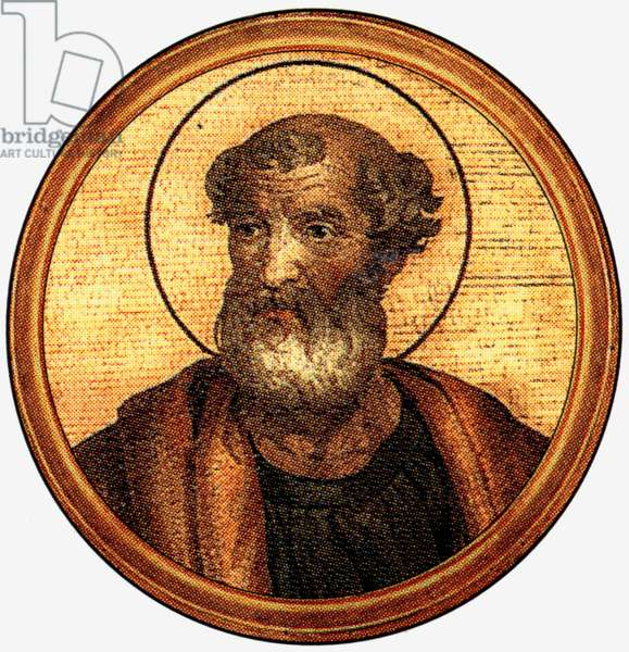 Pius 1st, pope in 140/142-155, after a medalion of the Basilica of Saint Paul Outside the Walls (-Rome)