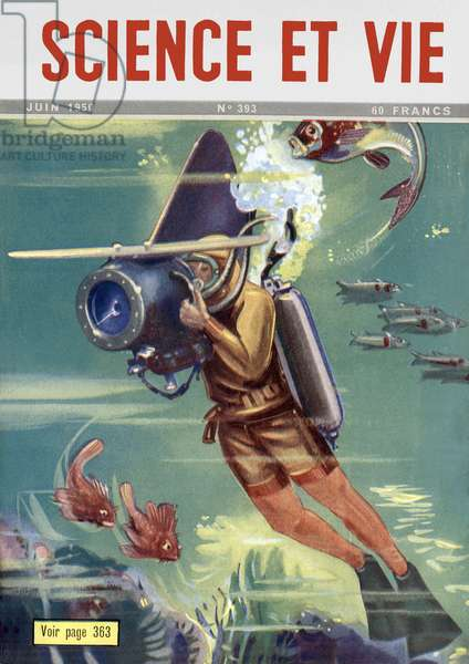 Cameraman with an underwater camera, Front Cover of 'Science et Vie', June 1950 (colour litho)