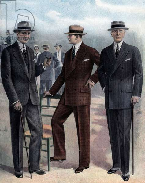 Fashion for spring and summer, 1927: men with suit, boater, cane