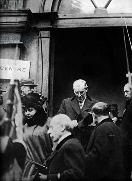 American president Woodrow Wilson in Paris, 1919 (for Peace Conference)
