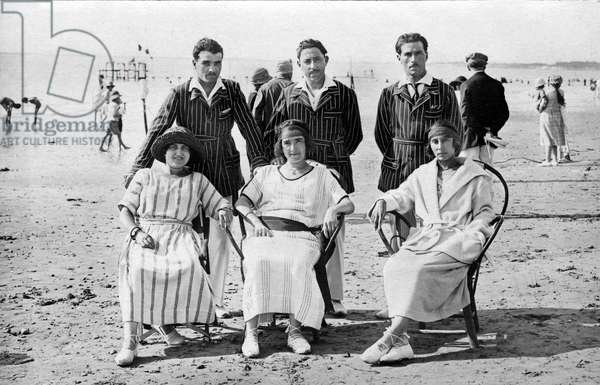on the beach ay Royan, France in 1923, Postcard