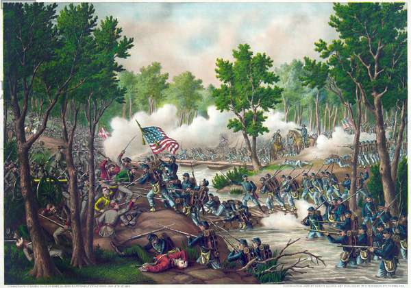 American Civil War (1861-1865): battle of Spotsylvania Court House may 9-12, 1864 (victory of Union), engraving