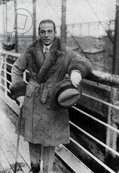 Rudolph Valentino (1895-1926) italian actor, here aboard a liner c. 1925
