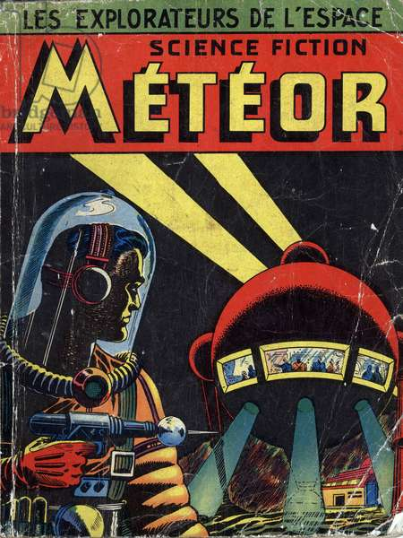 Cover of compilation of french magazine Meteor (1955-1956) with science fiction cartoons
