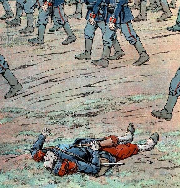 Prussians invading France: french dead soldier, 1870, illustration by Job, 1930