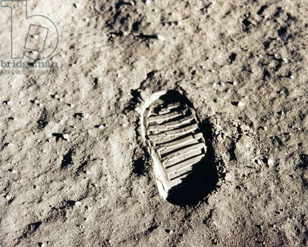 Track of step of one of the shoes of Edwin Aldrin who atterrish on the moon at the time of the mission Apollon 11, on July 20, 1969