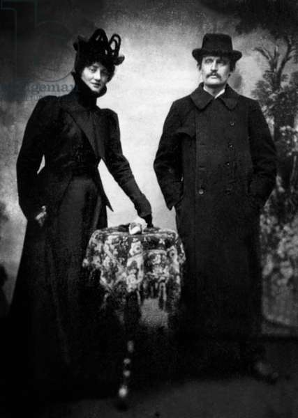 Tulla Larsen and Edvard Munch (1863-1944) here in 1899. Munch had a stormy relationship with Tulla which included a suicide attempt on her part and an accidental shooting which left Munch wounded in his left hand.