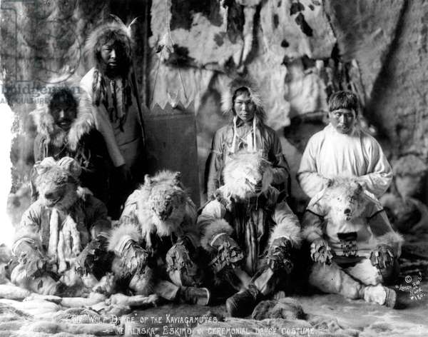 The wolf dance of the Kaviagamutes. The Alaskan Eskimo in ceremonial dance costume, c. 1920