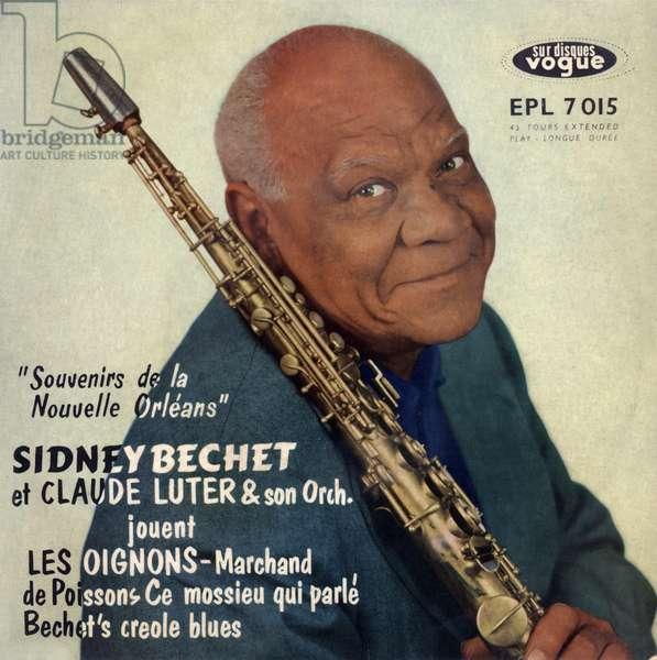 "Extended play vinyl record sleeve of Sidney Bechet, ClaudeLuter ""Souvenirs de la Nouvelle Orleans"" 1955"