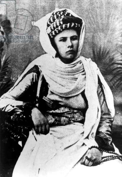 Isabelle Eberhardt (1877-1904) swiss explorer who lived in Algeria in 1897-1904 here wearing arabian costume c. 1897