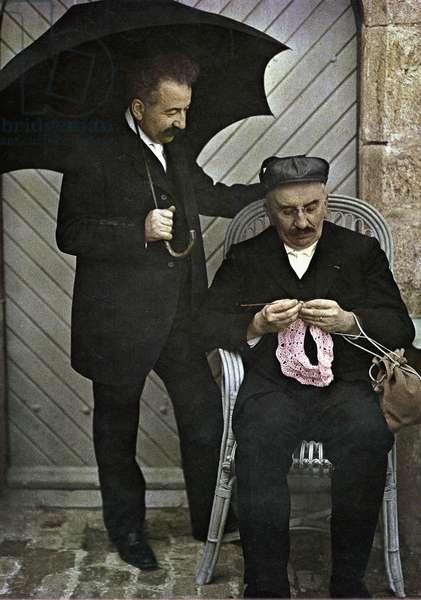 the brothers Louis and Auguste Lumiere, inventors of color photography and inventors of the cinema, Autochrome picture taken in 1906-1912 (color photo on glass, 1st color photography process invented in1903)