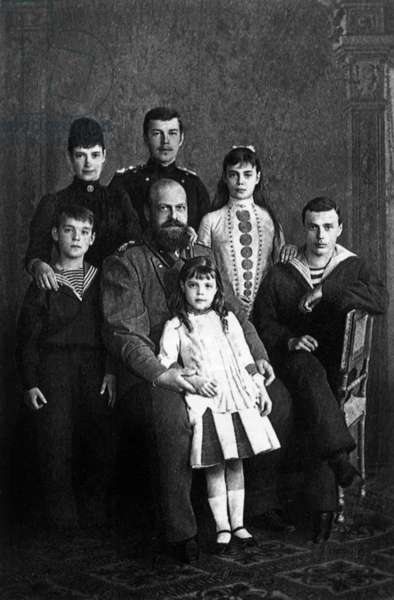Czar Alexander III of Russia (1845-1894) with his wife Maria Fedorovna (Fyodorovna) and their children: Nicolas (future Nicolas II), Xenia, George, Michel and Olga, in Saint Petersburg, october 17, 1888