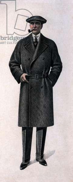 Men's fashion, 1927: man wearing a coat, beret, smoking pipe