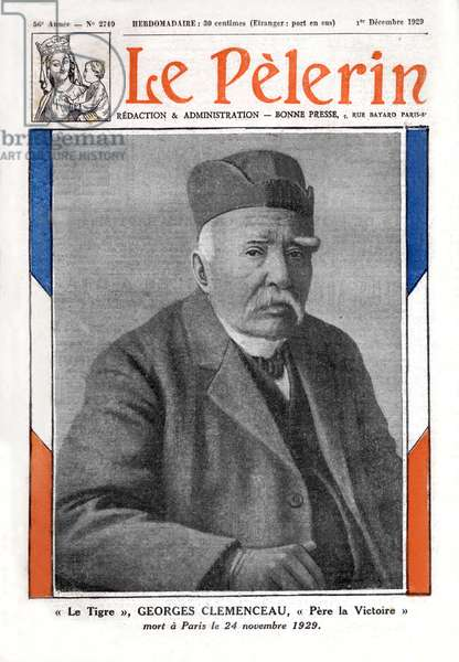 """Frontpage of french paper """"Le Pelerin"""" december 1st 1929: anouncing death of Georges Clemenceau french politician"""