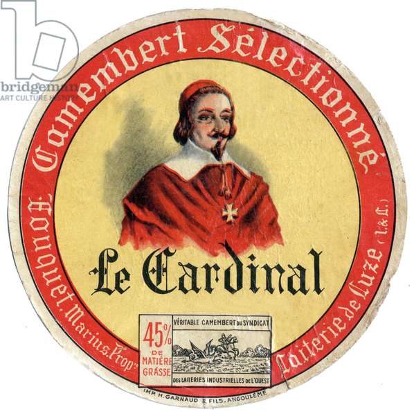 label for camembert, France with portrait of cardinal Richelieu
