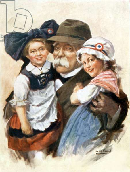Georges Clemenceau with little girls symbolizing unification of Alsace and Lorraine with France, drawing by Leon Fauret, Postcard