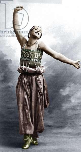 Vaslav Nijinsky (1890-1950) russian dancer of polish origins here in ballet Sheherazade, 1910 colourized document