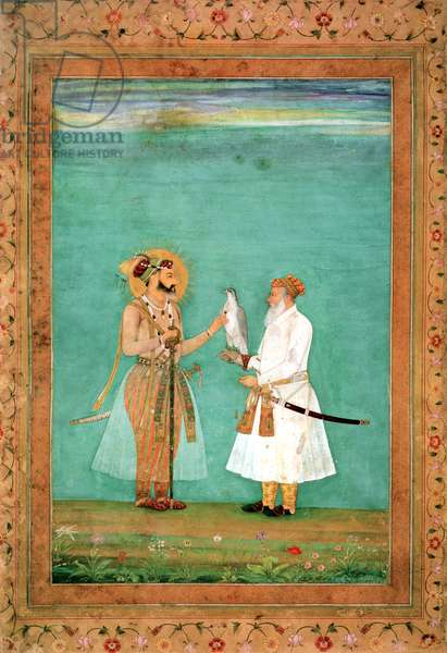 Emperor Shah Jahan and an elderly courtier with a falcon, c.1650 (vellum)