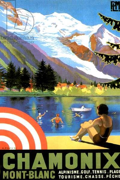 Advert for tourism in Chamonix, Mont-Blanc, 1936 (colour litho)