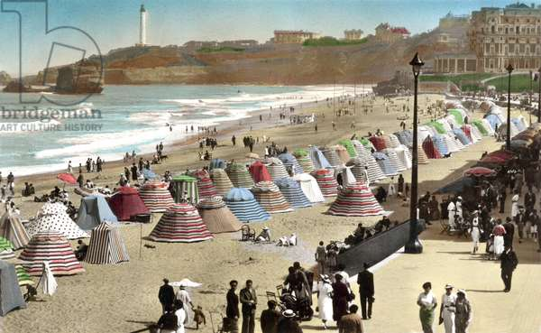 Biarritz (France): la Grande Plage, the palace of Empress Eugenie converted into the Hotel du Palais in 1893, the lighthouse on the pointe Saint Martin. Postcard, c 1921.