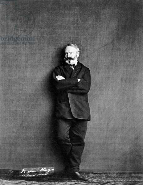 french writer Victor Hugo (1802-1885) here in 1860, photo by Edmond Bacot