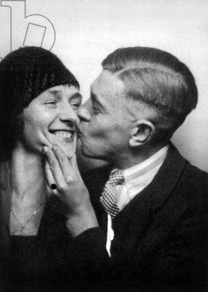 Rene Magritte with his wife Georgette Berger, 1929 (b/w photo)
