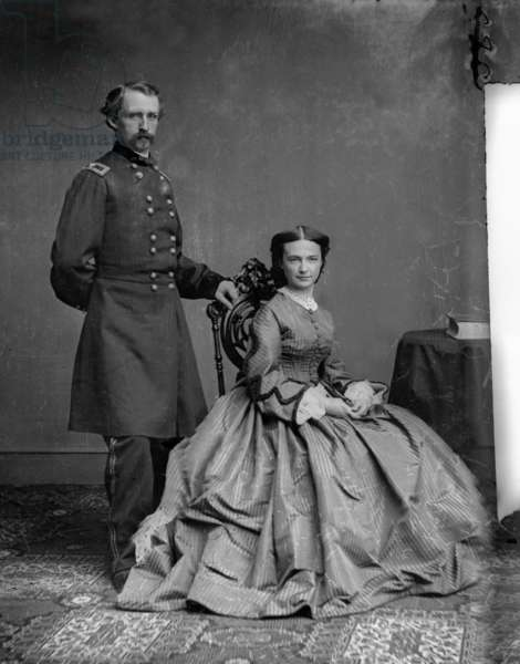 George Custer (1839-1876) american cavalry general during American Civil War, here with his wife, Photograph by Matthew Brady