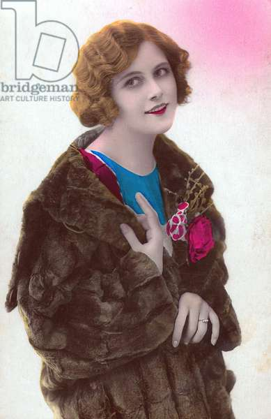Romantic young woman, Postcard, c. 1920