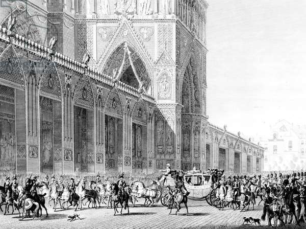 french emperor Napoleon 1st and empress Josephine arriving at Notre Dame Cathedral for Coronation ceremony december 02, 1804, engraving