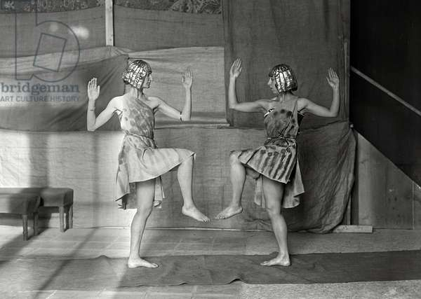 """French dancers Yvonne Franck and Yvonne Daunt in opera """"Ascanio"""" at the Opera de Paris, november 1921, Agence Rol photo"""