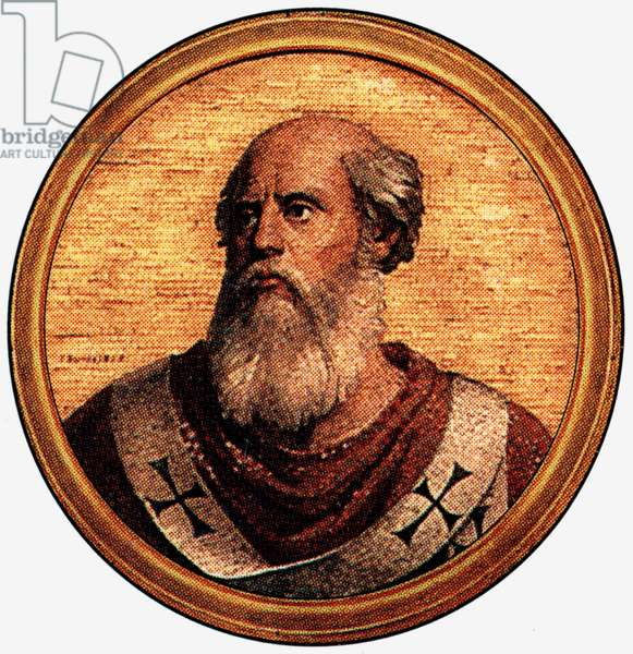 Saint John II, pope in 533-535, after a medalion of the Basilica of Saint Paul Outside the Walls (-Rome)