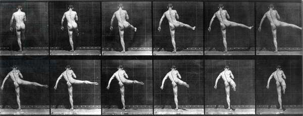 Photo by Edward J. Muybridge (1830-1904) in 1887: Animal Locomotion: breaking down into movment of a naked dancer