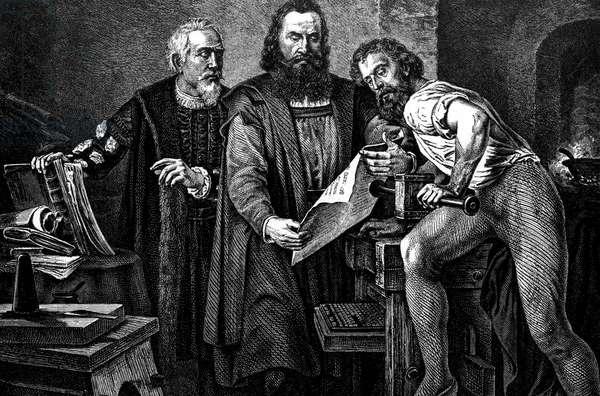 Johann Gutenberg (c.1397-1468) german inventor of the printing press, engraving