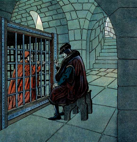 French king Louis XI visiting Cardinal Jean de la Balue (1421-1491) prisoner in a cage at Loche jail (he stayed in cage during 11 years), illustration by Job, 1930