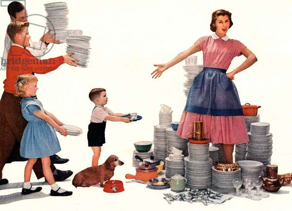 housewife overwhelmed by the dishes to wash up, picture for advertising for Lux washing liquid, published in american magazine 1956